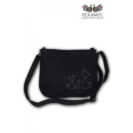 Mała torebka filcowa z kotkami