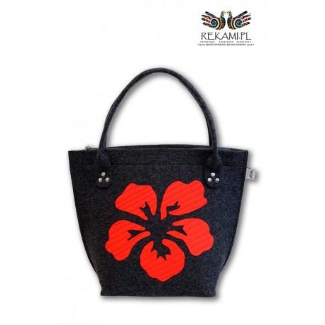 Grafitowa torba filcowa z kwiatem - Rękami
