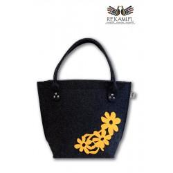 Torba filcowa z żółtymi kwiatkami - Zaokrąglona