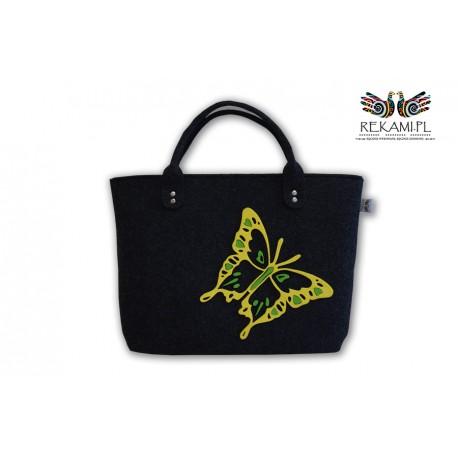 Torba filcowa z kolorowym motylem