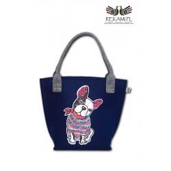 Filcowa torba - Cekinowy Buldog Francuski