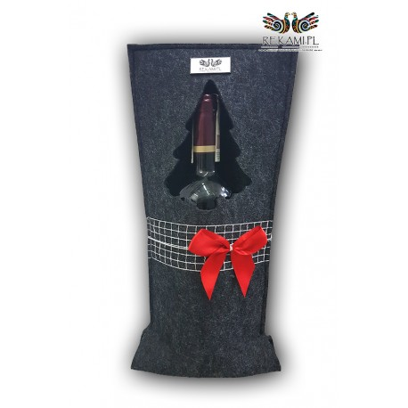 Torebka na wino - Czerwona kokardka