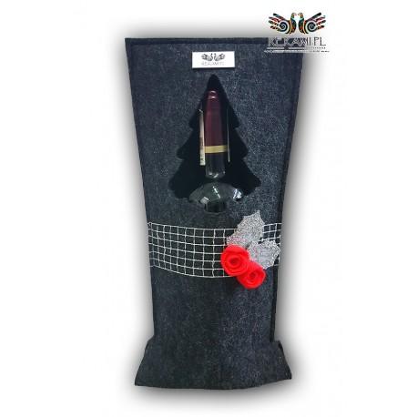 Torebka na wino z czerwonymi różyczkami